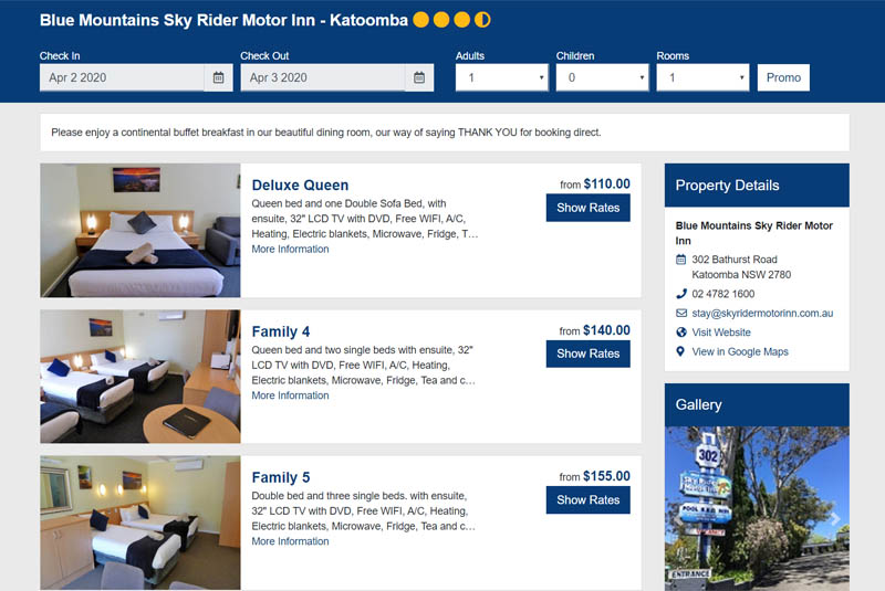 Book Accommodation online at Blue Mountains Sky Rider Motor Inn